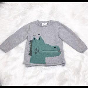 Zara Kids Alligator Gray Sweater with Pocket